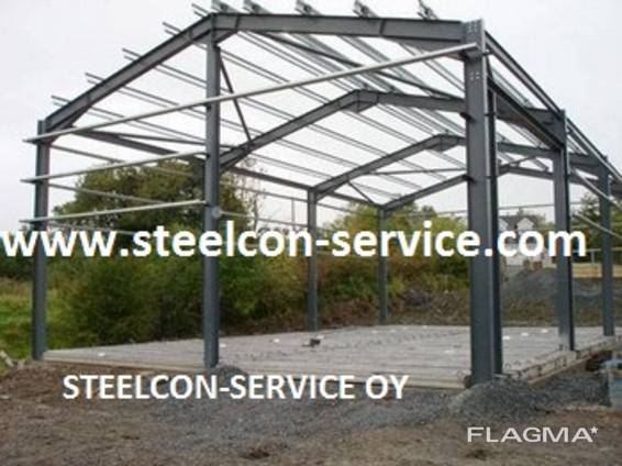 Frame steel hal, building steel construction, containers