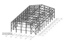 Frame steel halls, building steel construction